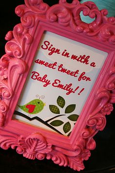 And Everything Sweet: Bird Baby Shower.  sub with a yellow frame and instructions for writing sweet notes in notebook :)