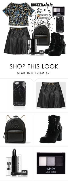 """Rock Chick"" by sanidaskrebo ❤ liked on Polyvore featuring Gucci, Betani, NYX, Max&Co., rockerchic and rockerstyle"