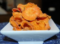 These sweet potato chili chips are only 35 calories per serving and can be made in the microwave!