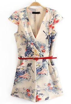 Apricot V Neck Short Sleeve Belt Floral Jumpsuits - Sheinside.com