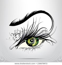 Vector silhouette of eyes with cat - Tatoo - Tattoos Tatoo 3d, Tattoo Foto, Cat Eye Tattoos, Body Art Tattoos, 3d Tattoos, Skull Silhouette, Silhouette Vector, Black And White Cartoon, Cat Vector