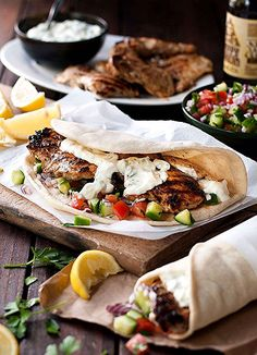 Greek Chicken Gyros with Tzatziki **The chicken is very flavorful and juicy. This is not an authentic tzatziki recipe though. I will definitely make the chicken again but look for a better tzatziki recipe. Greek Recipes, Quick Recipes, Cooking Recipes, Cooking Bacon, Cheap Recipes, Best Healthy Dinner Recipes, Cooking Broccoli, Cooking Beets, Cooking Rice