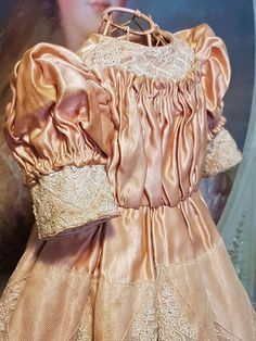 ~~~ Pretty Vintage French Silk Satin Dress with matching Bonnet ~~~