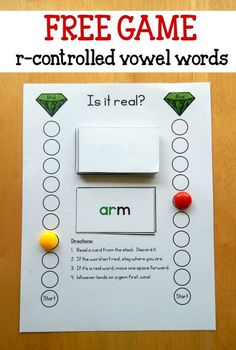 Trying to help your students master those tricky r controlled vowels? Try this quick reading activity! Print the cards you'd like and read each word. If it's a real word, move closer to the gem. r controlled vowel bossy r R Controlled Vowels Activities, Vowel Activities, Reading Activities, Teaching Reading, Student Teaching, Free Reading Games, Teaching Skills, Reading Fluency, Work Activities