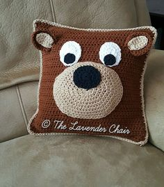 Teddy Bear Pillow Crochet Pattern PDF FILE by TheLavenderChair