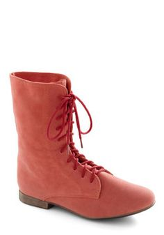 Lady in Rad Boot in Salmon. These are adorable. New school year. New style.