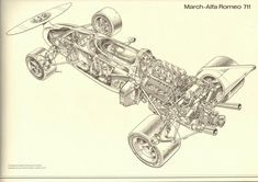 March-Alpha Romeo 711 #F1. Racing Machines and the Artistry in Innards