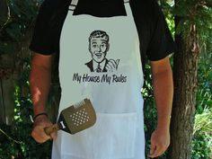 BBQ Apron - Dad Father Gift - My House My Rules - Funny Retro Dad - Black apron or White apron Dad Father's day gift
