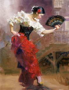 """From top to bottom: """"Dancing In Barcelona"""", """"Flamenco In Red"""", """"Seville In My Heart"""", """"Spanish Dancer"""" and """"The Last Dance"""" – Pino Daeni Spanish Dancer, Spanish Art, Spanish Style, Art Espagnole, Oil Canvas, Dance Paintings, Indian Paintings, Painting Art, Mary Cassatt"""