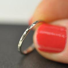 White Gold 2mm Ring, 14K Palladium, Hammered, Polished, Band. $174.00, via Etsy.