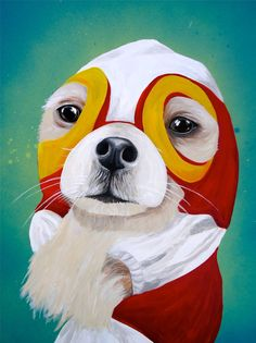Luchador+Chihuahua+painting+PRINT+by+amyscreativecorner+on+Etsy,+$12.00