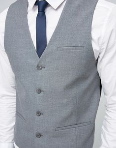 WEDDING Waistcoat with Square Hem in Grey