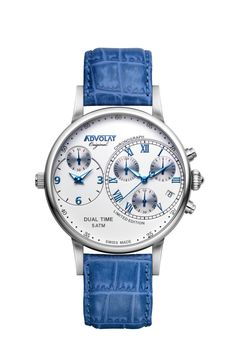 ADVOLAT CAPITAINE Dual Time, Stainless Steel Casing, Face white/blue, Leather Bracelet blue, Ref. 88001/1-L4 Limited Edition Watches, Watches Online, Wedding Watches, Stainless Steel, Bracelets, Face, Leather, Stuff To Buy, Accessories