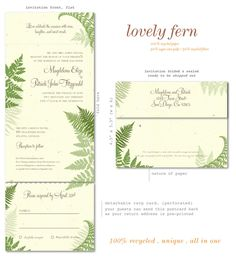 Green Wedding Invitations on 100% recycled paper ~ Lovely Fern by ForeverFiances Weddings
