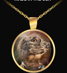 Spirit Of The Owl Dreamcatcher design in a lovely gold-plated pendant necklace featuring the art of Carol Cavalaris.