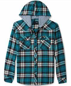 Hurley Shirt, Hooded Flannel Plaid Shirt
