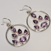 Zilveren ronde edelsteen oorbellen met Amethist