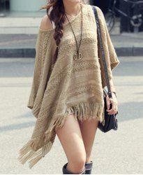 $13.43 Knit Pattern Openwork Fringe Hem Cotton Blend Solid Color Sweater For Women