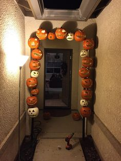 Only a couple more pumpkins to add, then the lights and garland! Pumpkins, Halloween Decorations, Garland, Wreaths, Couple, Lights, Home Decor, Decoration Home, Door Wreaths