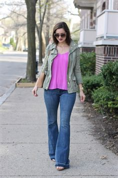Raw Edge Super Flared Jeans, Green Anorak Army Jacket