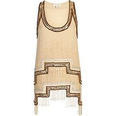 Bronze stepped hem embellished tank top by River Island, I want you and wish you came in my size