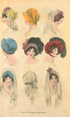 Head Dresses, February 1805, Fashions of London & Paris