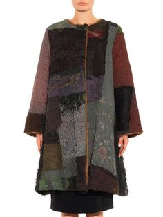 By Walid Vintage patchwork fur-lined swing coat