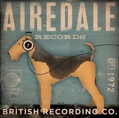 AIREDALE records original graphic art illustration on canvas 12 x 12 x 1.5 by gemini studio. $80.00, via Etsy.