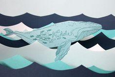 letterpress Get Whale card by blackbirdletterpress on Etsy,