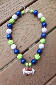 """SEAHAWKS Inspired 12th Fan Blue & Green Gameday Bubblegum Bead Chunky Necklace, Bling Rhinestone Football (Adult Size - 20.5"""")"""