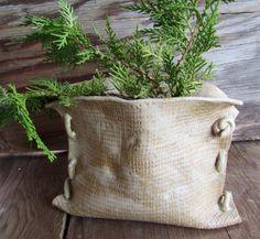Handmade Art Pottery Burlap Sack   Vase Planter by MartisArt, $45.00