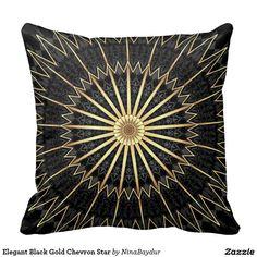 #Elegant #Black #Gold Chevron #Star Throw #Pillow #throwpillow Nina Baydur