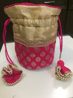 Potli bag by Suritika on Etsy Potli Bags, Ethnic Bag, Diy Bags Purses, Embroidery Bags, Pouch Bag, Pouches, Quilted Bag, Cloth Bags, Small Bags