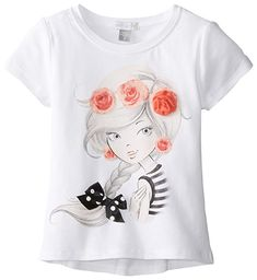 Petit Lem Little Girls' Girl with Roses Printed Tee, White, 2 T Shirt Painting, Fabric Painting, Custom T Shirt Printing, Printed Tees, Night Dress For Women, Shirt Print Design, Painted Clothes, Illustration Girl, Personalized T Shirts