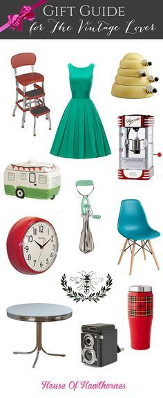 A gift guide for the vintage lover in your life. Modern vintage, kitschy vintage, retro or somewhere in between. Cute ideas for teacher and hostess gifts.