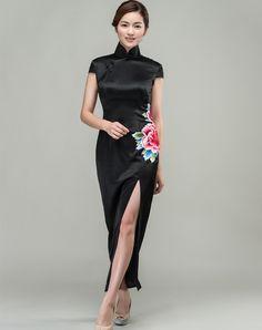 Black satin with peony embroidery qipao dress