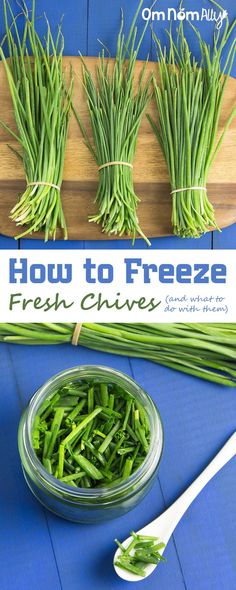 How to Freeze Fresh Chives (and how to use them) @OmNomAlly | It's incredibly easy to freeze fresh chives, so you can preserve the harvest whenever you have a glut of this flavourful herb.