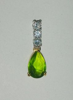 Peridot and Clear Diamond Cut Cubic Zirconia Pendant - Necklaces & Pendants #teamsellit #gifts