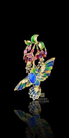 "Pendant ""Колибри"" 13418 Collection: Birds of paradise  18K yellow gold, opal 1,54 ct, diamonds, black diamonds, blue diamonds, yellow diamonds, blue sapphires, orange and yellow sapphires, pink sapphires, pink tourmalines, demantoids, topazes london blue, amethyst, enamel."