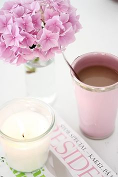 pretty shades of pink Hortensia Hydrangea, Pink Hydrangea, Hydrangeas, Pink Flowers, Coffee Break, My Coffee, Coffee Time, Morning Coffee, Coffee Candle