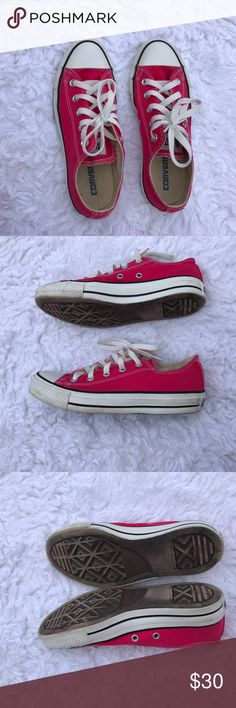 Hot pink converse Previously loved. Pictures are taken in natural light to show true condition of shoe Converse Shoes Sneakers