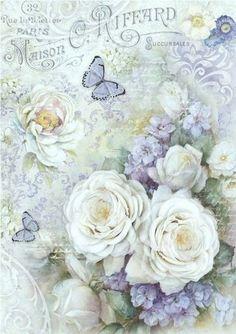 Rice Paper for Decoupage Scrapbooking Sheet Craft Vintage Tea Purple Roses