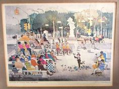 Signed-Dong-Kingman-Listed-1911-200-Print-The-Plaza-At-Central-Park-Framed