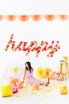 DIY Floral Word Backdrop | Oh Happy Day!