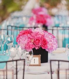 Serene pink & blue wedding decor... These r pretty colors too/ MINI PICTURE FRAME WITH TABLE NUMBER