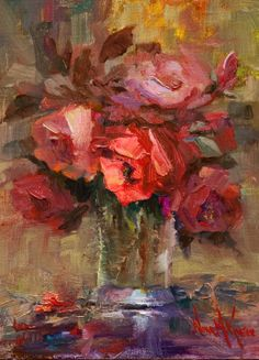 Oil Painting ''Glass Of Red Roses'' By Artist Nora Kasten