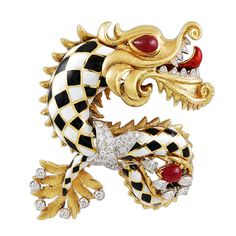 DAVID WEBB Diamond Enamel Chinese Dragon Pin | From a unique collection of vintage brooches at http://www.1stdibs.com/jewelry/brooches/brooches/