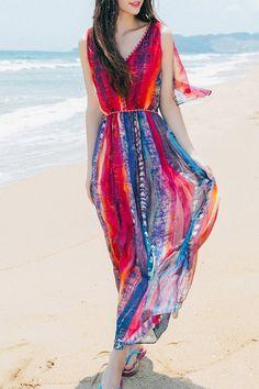 Print V Neck Sleeveless Chiffon Maxi Dress