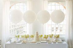 Gorgeous White Dessert Table with Big White Balloons Amy Atlas Interviews :: The TomKat Studio for HGTV