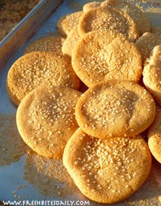 Tahini Cookies (Gluten Free, Dairy Free)  SO good with a few drops of Orange Oil added!